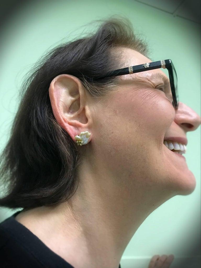 Naomi Sarna Pearl Diamond Gold Earrings For Sale 8