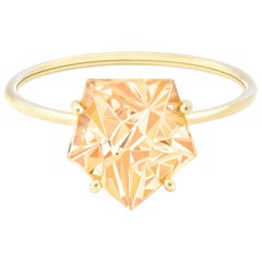 Misui 18 Karat Yellow Gold 2 Carat Citrine Gemstone Ring