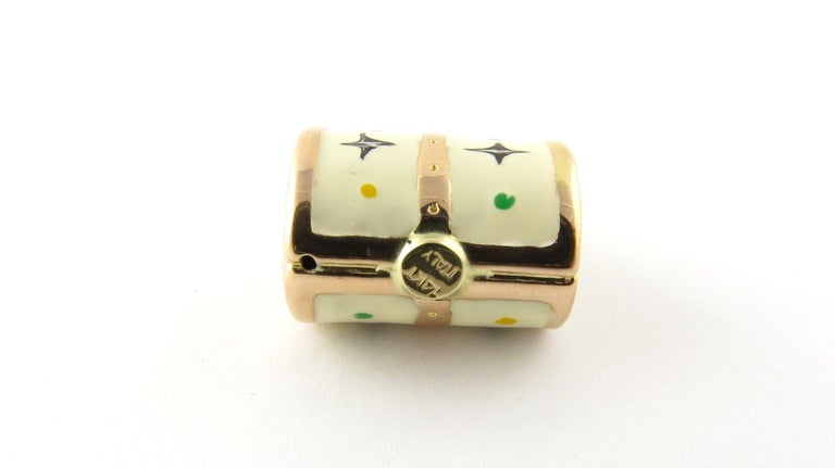 14 Karat Yellow Gold and Enamel Designer Handbag Charm In Good Condition For Sale In Greenwich, CT