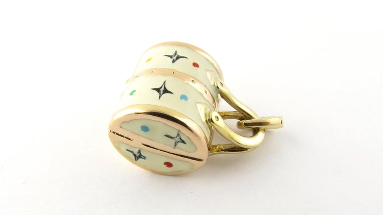 Women's 14 Karat Yellow Gold and Enamel Designer Handbag Charm For Sale