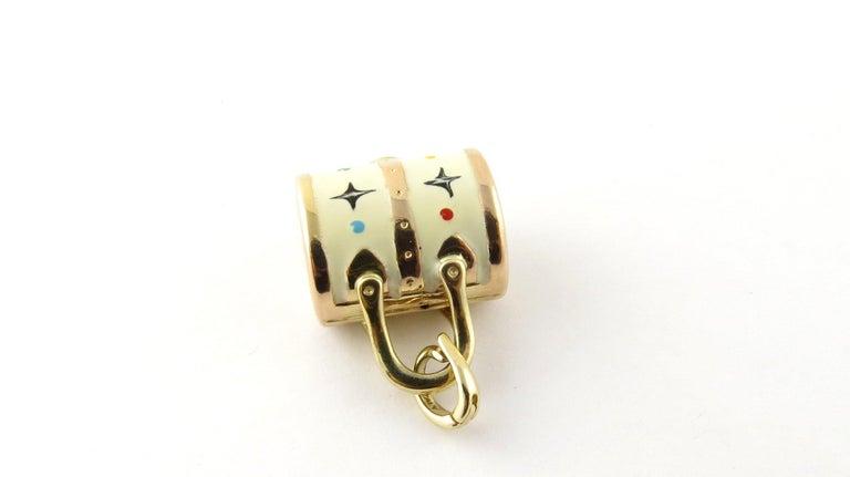 14 Karat Yellow Gold and Enamel Designer Handbag Charm For Sale 1