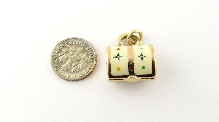14 Karat Yellow Gold and Enamel Designer Handbag Charm For Sale 2