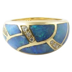 14 Karat Yellow Gold Opal and Diamond Ring