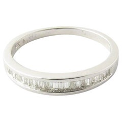 14 Karat White Gold Baguette Diamond Wedding Band