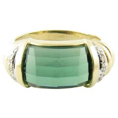 14 Karat Yellow Gold Green Tourmaline Ring