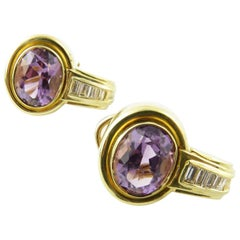 18 Karat Yellow Gold Amethyst and Diamond Earrings