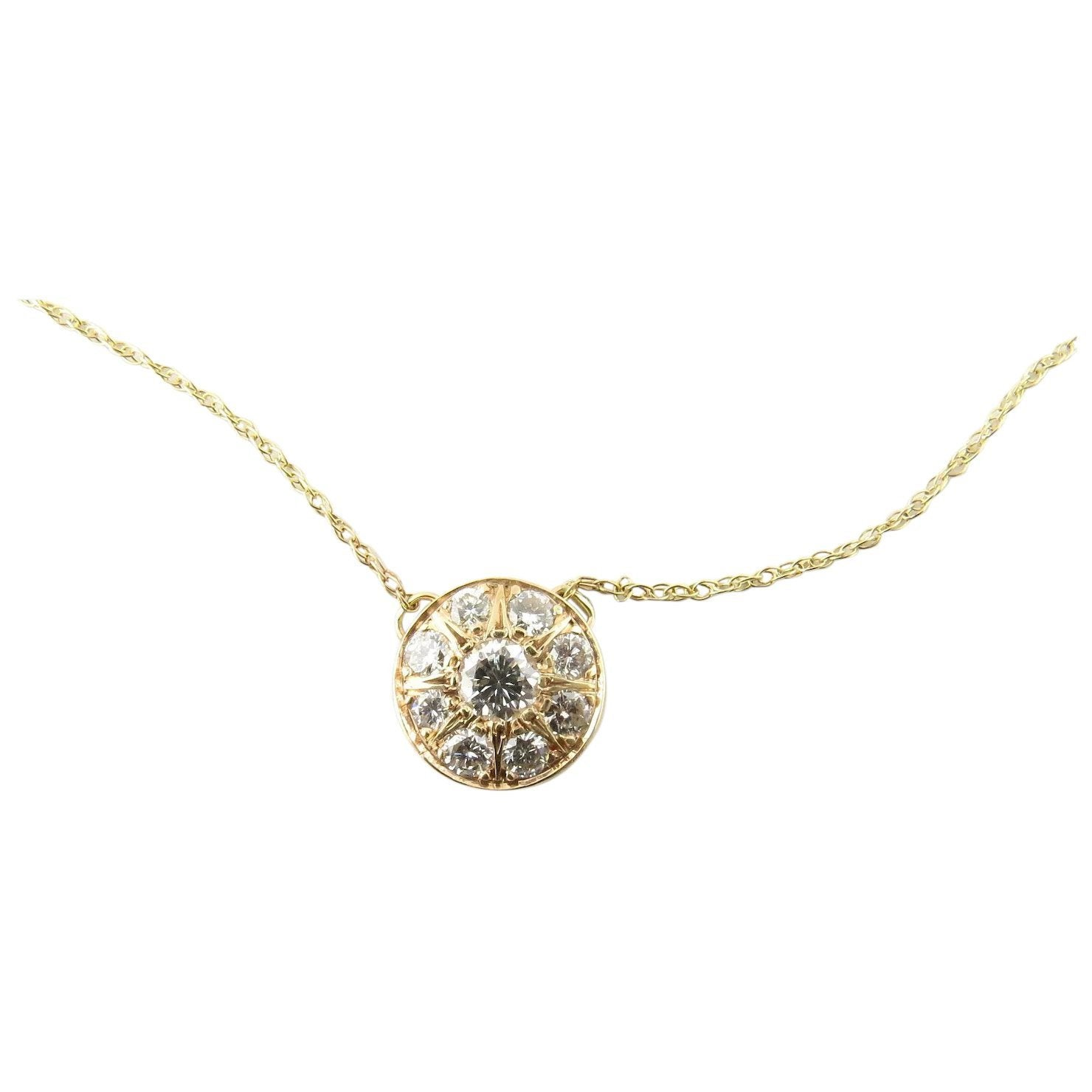 14 Karat Yellow Gold Diamond Pendant Necklace