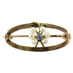 10 Karat Yellow Gold Seed Pearl and Blue Topaz Brooch / Pin