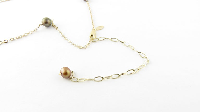 14 Karat Yellow Gold Grey Pearl and Citrine Necklace In Good Condition For Sale In New Milford, CT