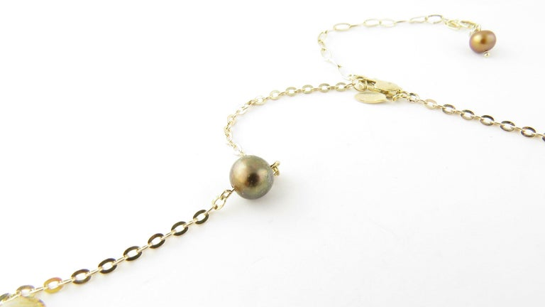 Women's 14 Karat Yellow Gold Grey Pearl and Citrine Necklace For Sale