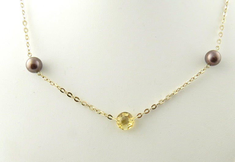 14 Karat Yellow Gold Grey Pearl and Citrine Necklace For Sale 1