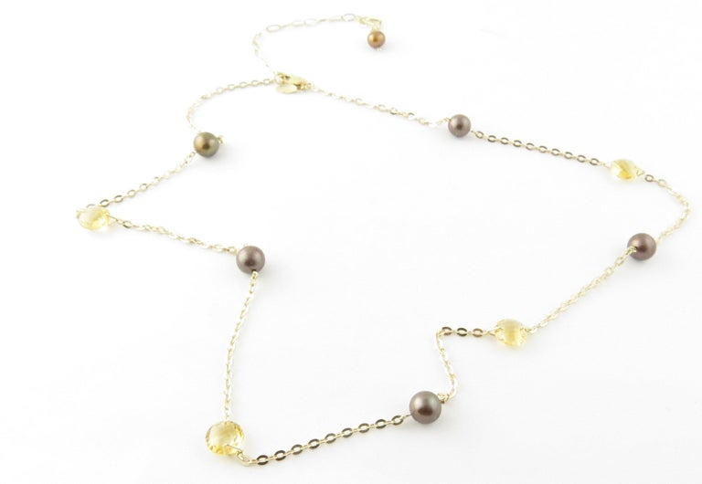 14 Karat Yellow Gold Grey Pearl and Citrine Necklace For Sale 2