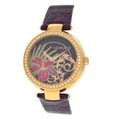 Authentic New Versace Mystique Hibiscus Diamond Quartz Watch