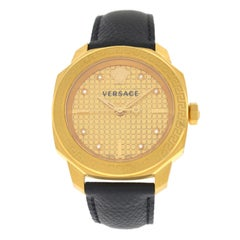 Authentic New Versace Dylos Gold IP Quartz Diamond Watch