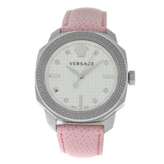 Authentic New Versace Dylos Steel Quartz Pink Watch