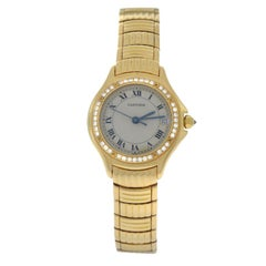 Ladies Cartier Santos 18 Karat Yellow Gold Diamond Date Quartz Watch