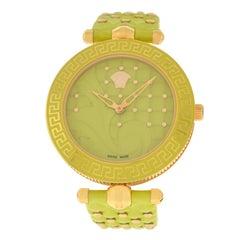 Authentic New Versace Vanitas Gold IP Light Green Watch 2 Strap