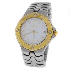 Authentic Unisex Ebel Sportwave Steel and 18 Karat Gold Quartz Watch
