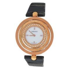 Authentic Versace EON 80Q81SD498 S009 Gold Tone Diamond Quartz 38MM MOP Watch