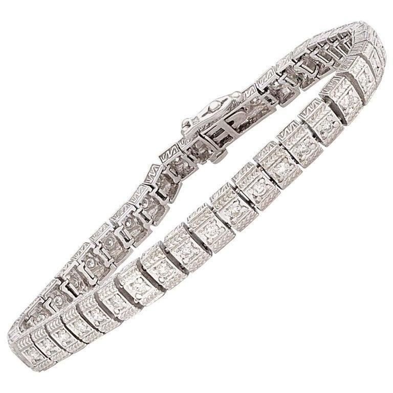 Solid 14 Karat White Gold Genuine Diamond Tennis Bracelet 1 50 Carat 15 9g For