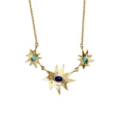 Emily Kuvin Gold, Diamond, Lapis and Turquoise Triple Organic Star Necklace
