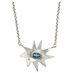 Emily Kuvin Silver Organic Star Shape Necklace with Diamonds and Blue Topaz