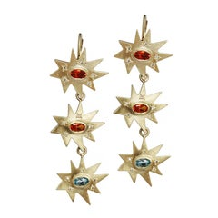 Emily Kuvin Gold and Topaz Triple Organic Star Lever Back Statement Earrings