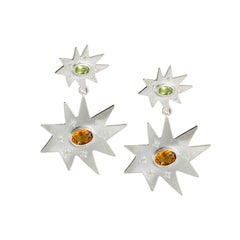 Emily Kuvin Silver Double Organic Star Statement Earrings, Peridot and Citrine