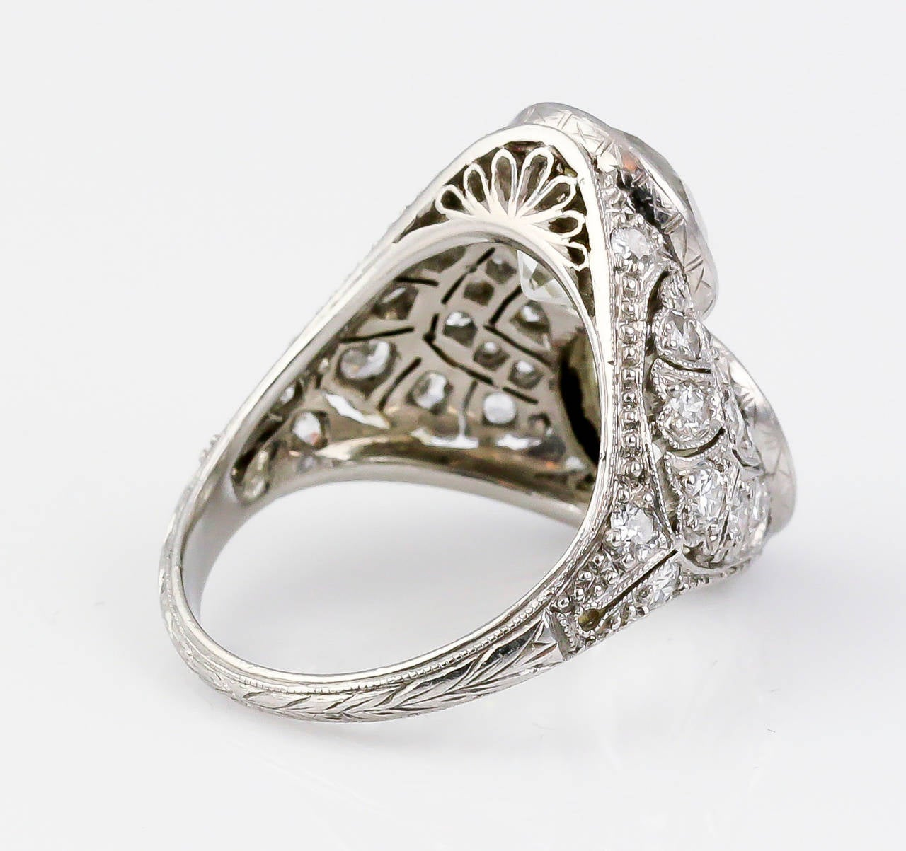 Women's Art Deco Diamond Platinum Two-Stone Cocktail Ring For Sale