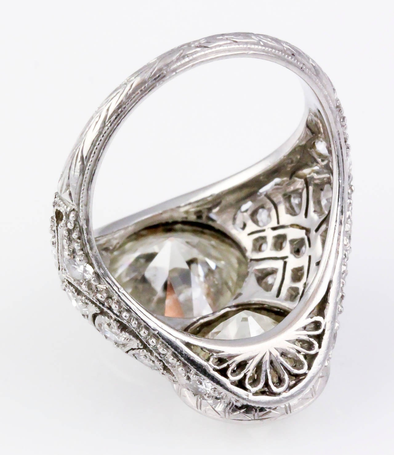 Art Deco Diamond Platinum Two-Stone Cocktail Ring For Sale 2