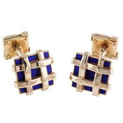 Tiffany & Co. Schlumberger Blue Enamel Gold Basket Weave Cufflinks
