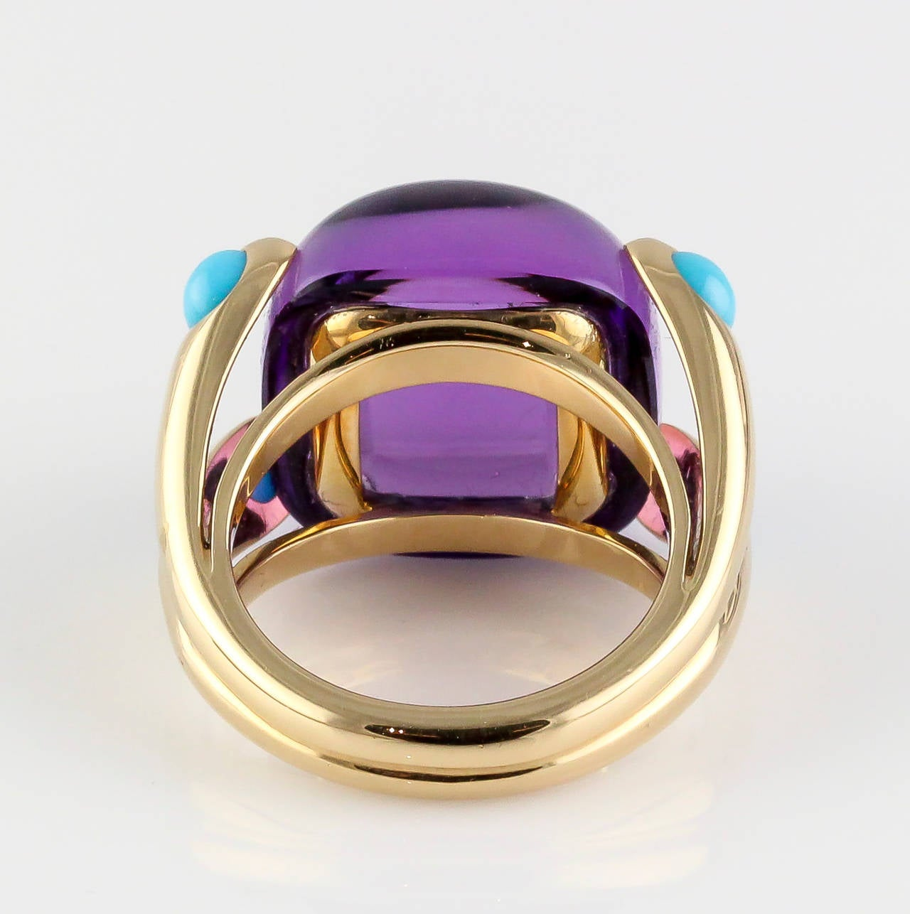 Verdura Turquoise Amethyst Gold Candy Ring At 1stdibs