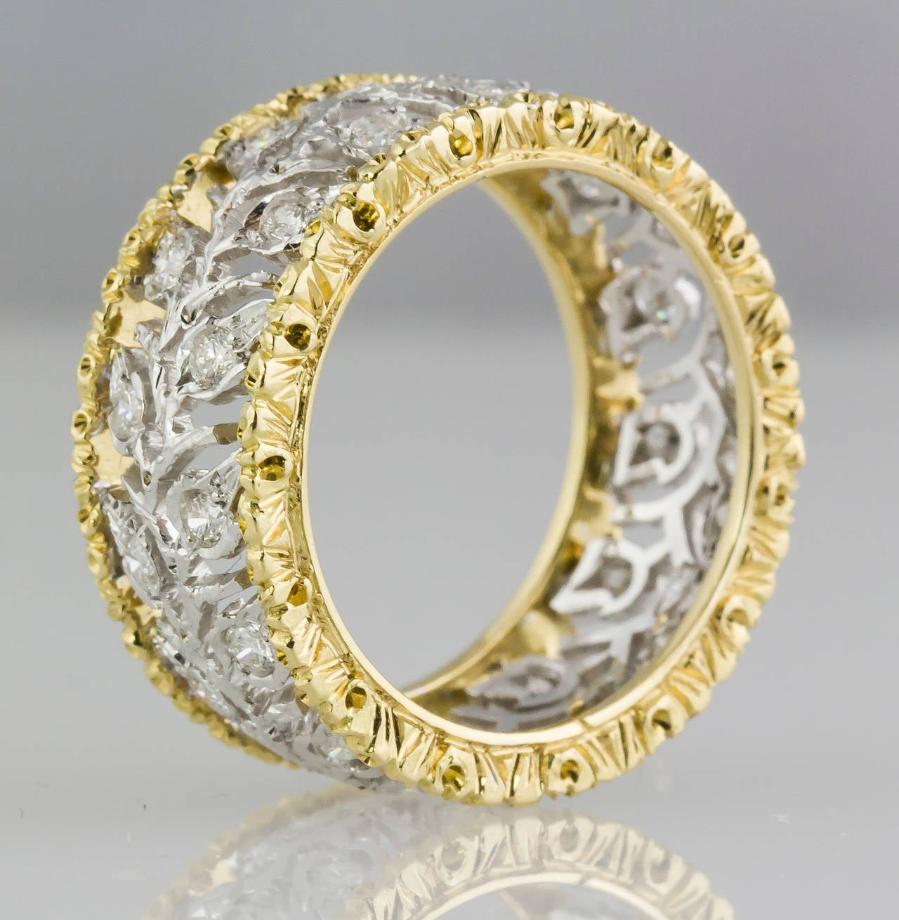 M. Buccellati Ramage Diamond Two Color Gold Leaf Band Ring 2
