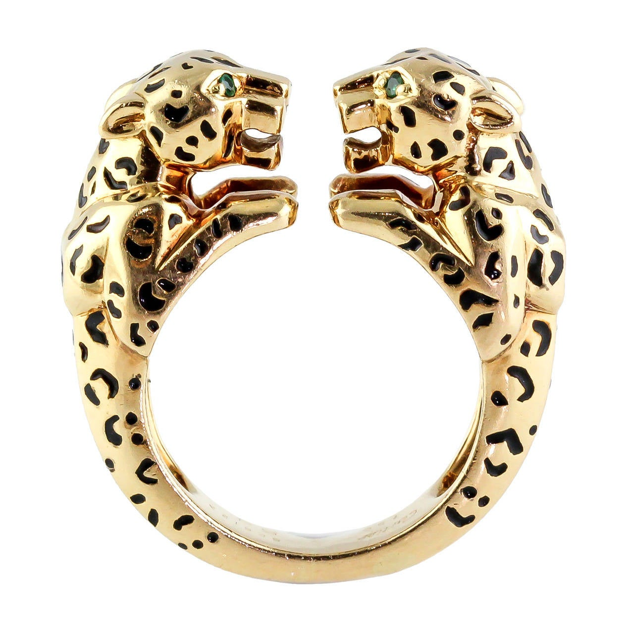 cartier enamel emerald gold headed panther ring at