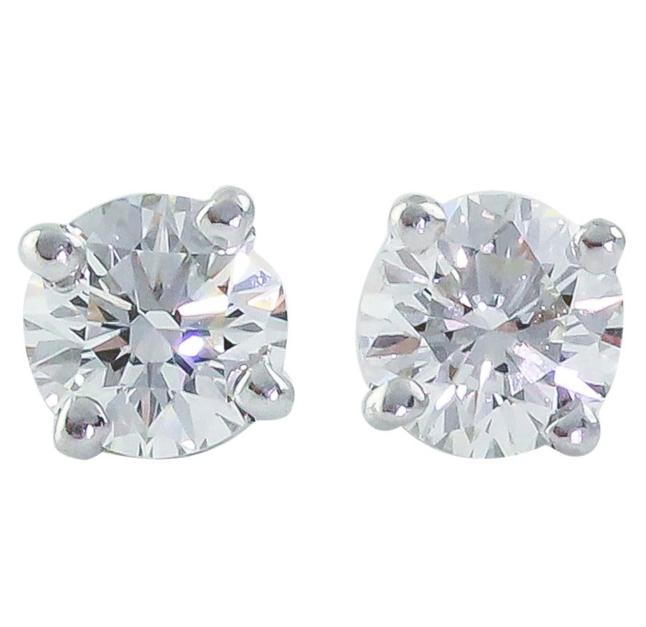 Tiffany & Co. .71 Carats Diamond Platinum Stud Earrings For Sale