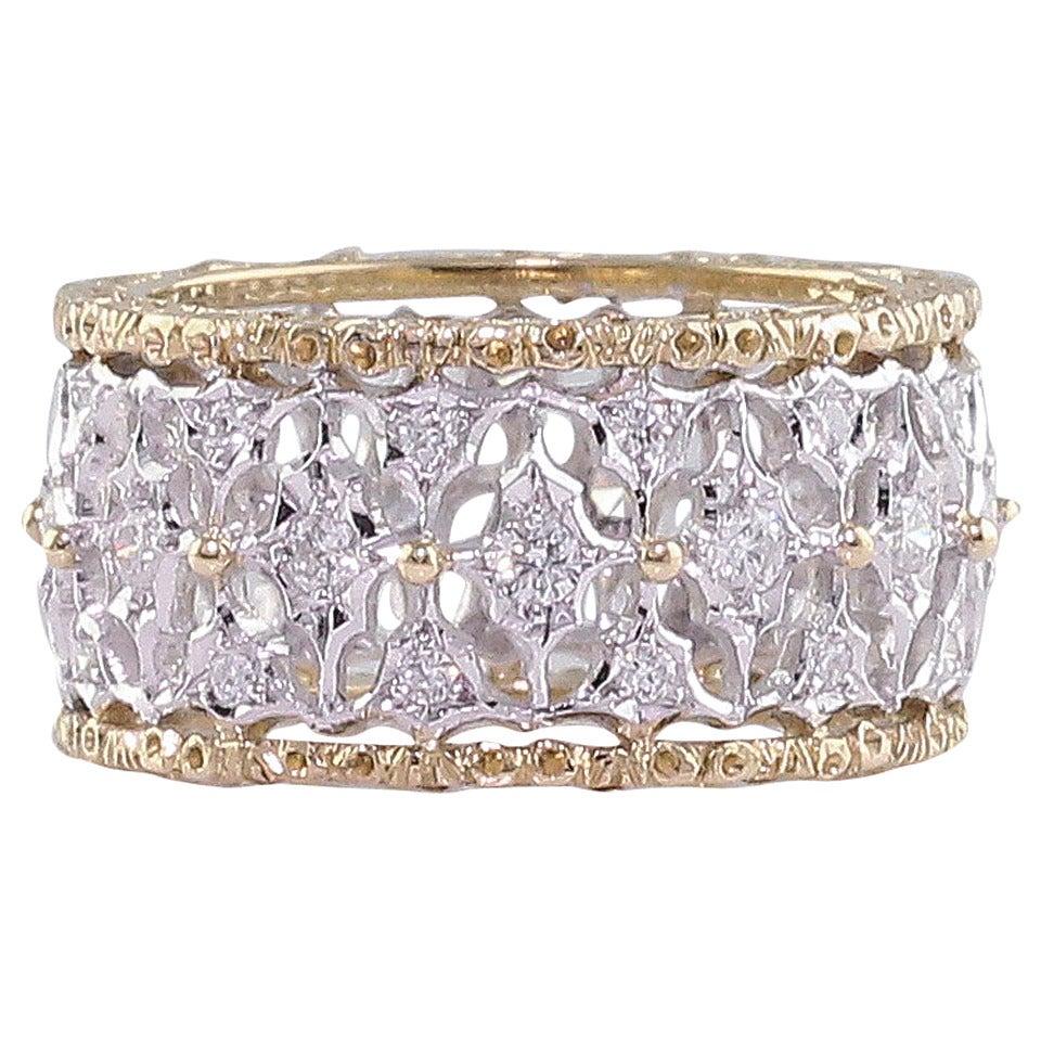 M. Buccellati Diamond Gold Band Ring For Sale