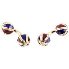 French Enamel Gold Dumbbell Cufflinks