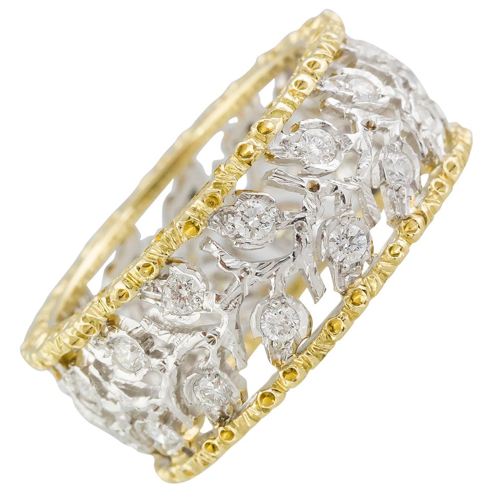M. Buccellati Ramage Diamond Two Color Gold Leaf Band Ring 1