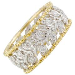 M. Buccellati Ramage Diamond Two Color Gold Leaf Band Ring