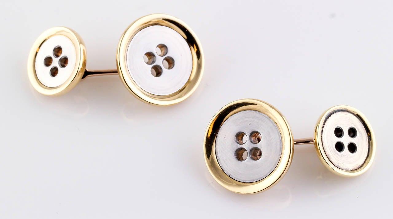 bulgari yellow and white gold button cufflinks at 1stdibs