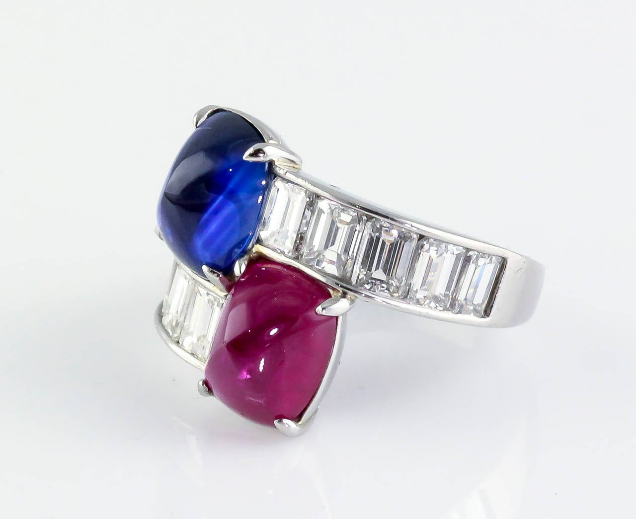 Burma Ruby Ceylon Sapphire Emerald Cut Diamond Platinum Contraire Ring at 1st