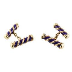 Tiffany & Co. Schlumberger Blue Enamel Gold Bar Cufflinks