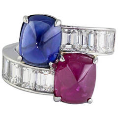 Burma Ruby Ceylon Sapphire Emerald Cut Diamond Platinum Contraire Ring