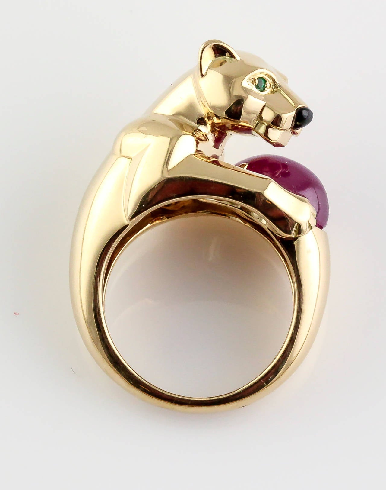 Cartier Panthere Ruby Emerald Onyx Gold Ring 2