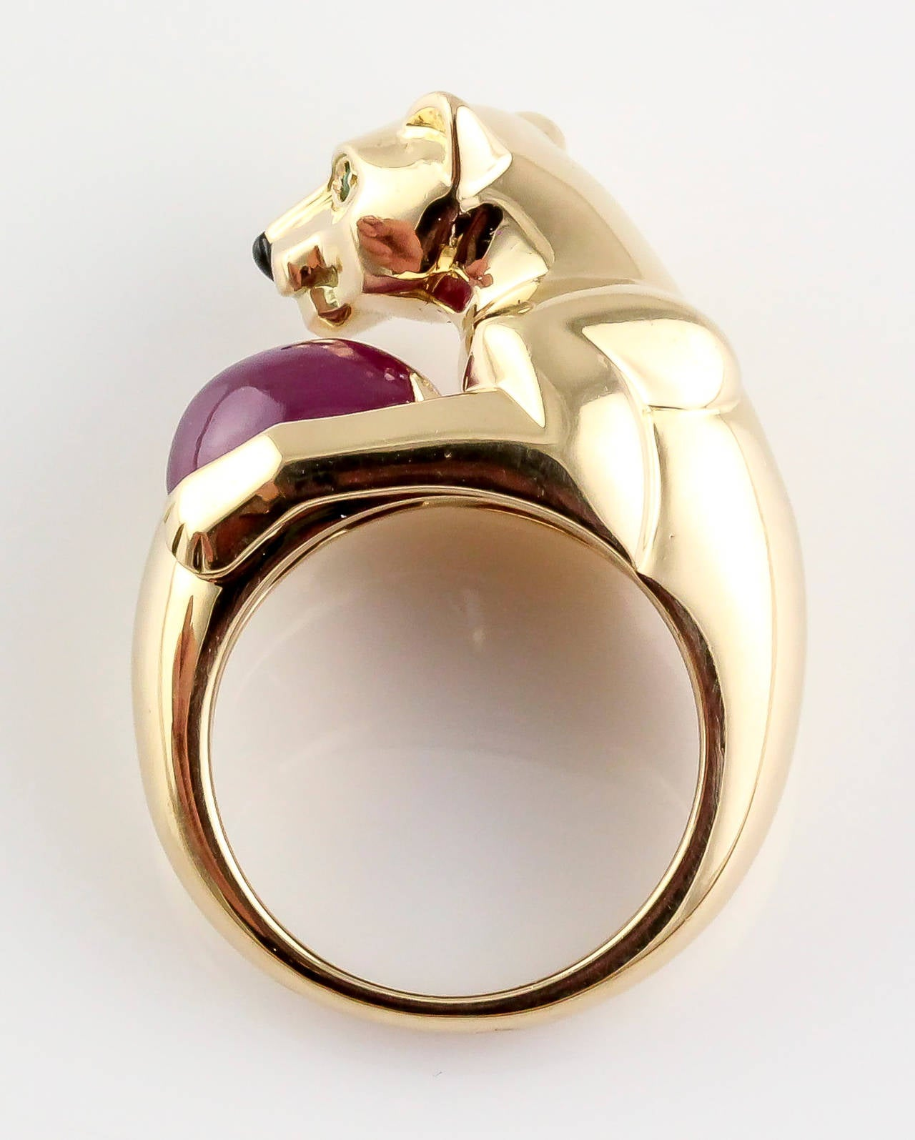Cartier Panthere Ruby Emerald Onyx Gold Ring 3
