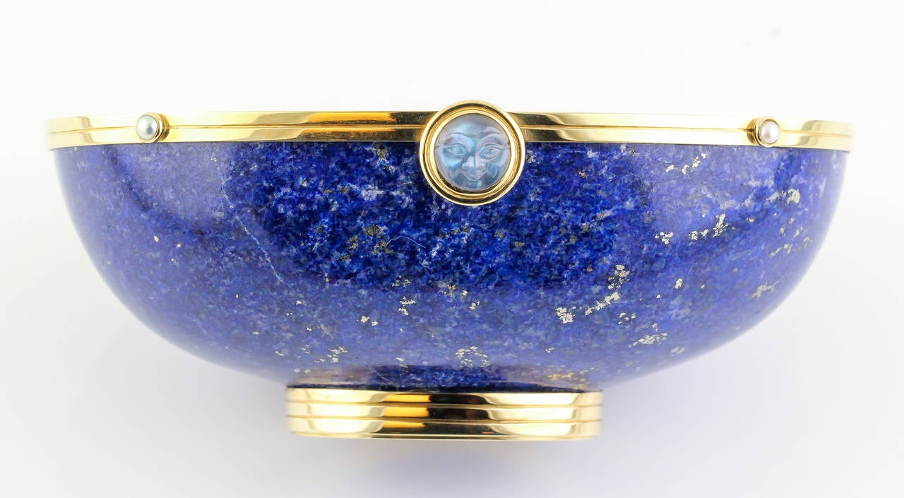 Silverhorn Lapis Seed Pearl Moonstone Gold Bowl For Sale