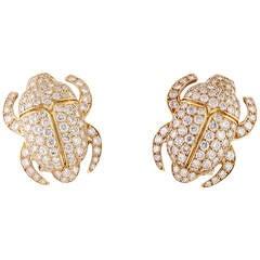 Cartier Diamond Gold Scarab Earrings