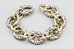 David Yurman Extra Large Silver and 18 Karat Gold Oval Link Bracelet