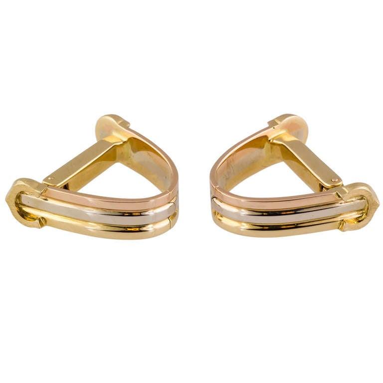 cartier quotcquot logo triangle threetone gold cufflinks at 1stdibs