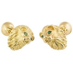 Tiffany & Co. Emerald and Gold Lion Cufflinks
